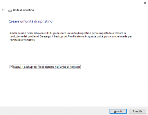 Windows 10 crea unità di ripristino
