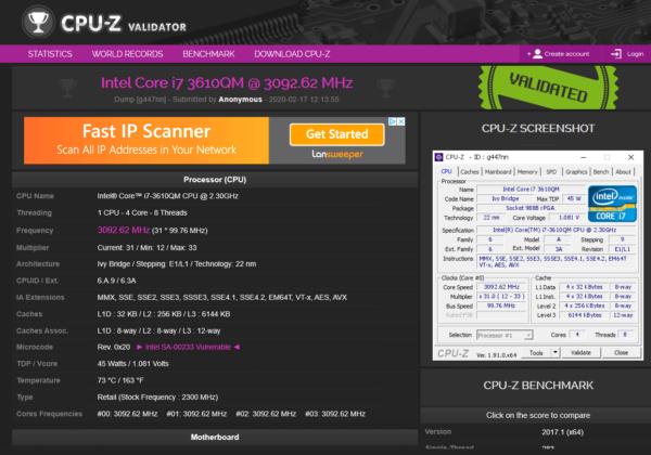 cpu-z database